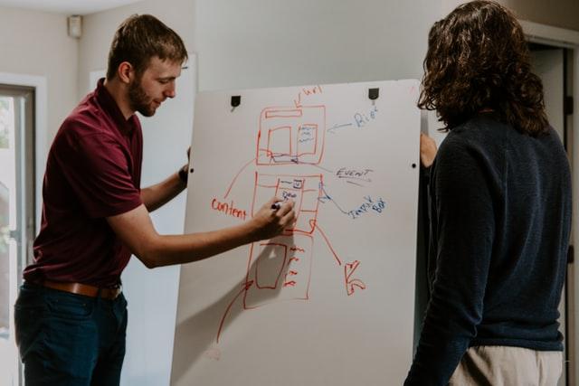 Dwoje ludzi, przy tablicy, opracowywujący plan content marketingu.