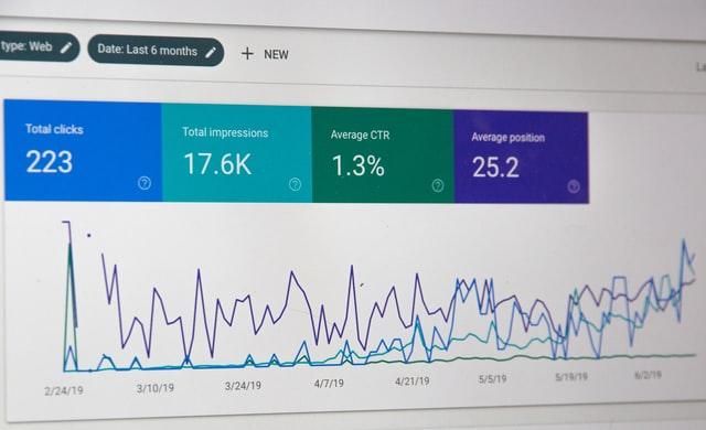 Ekran monitora, na którym widać dane statystyczne strony internetowej pod względem SEO.