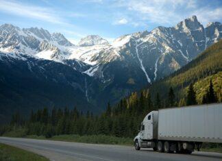 Biała ciężarówka jadąca w otoczeniu gór